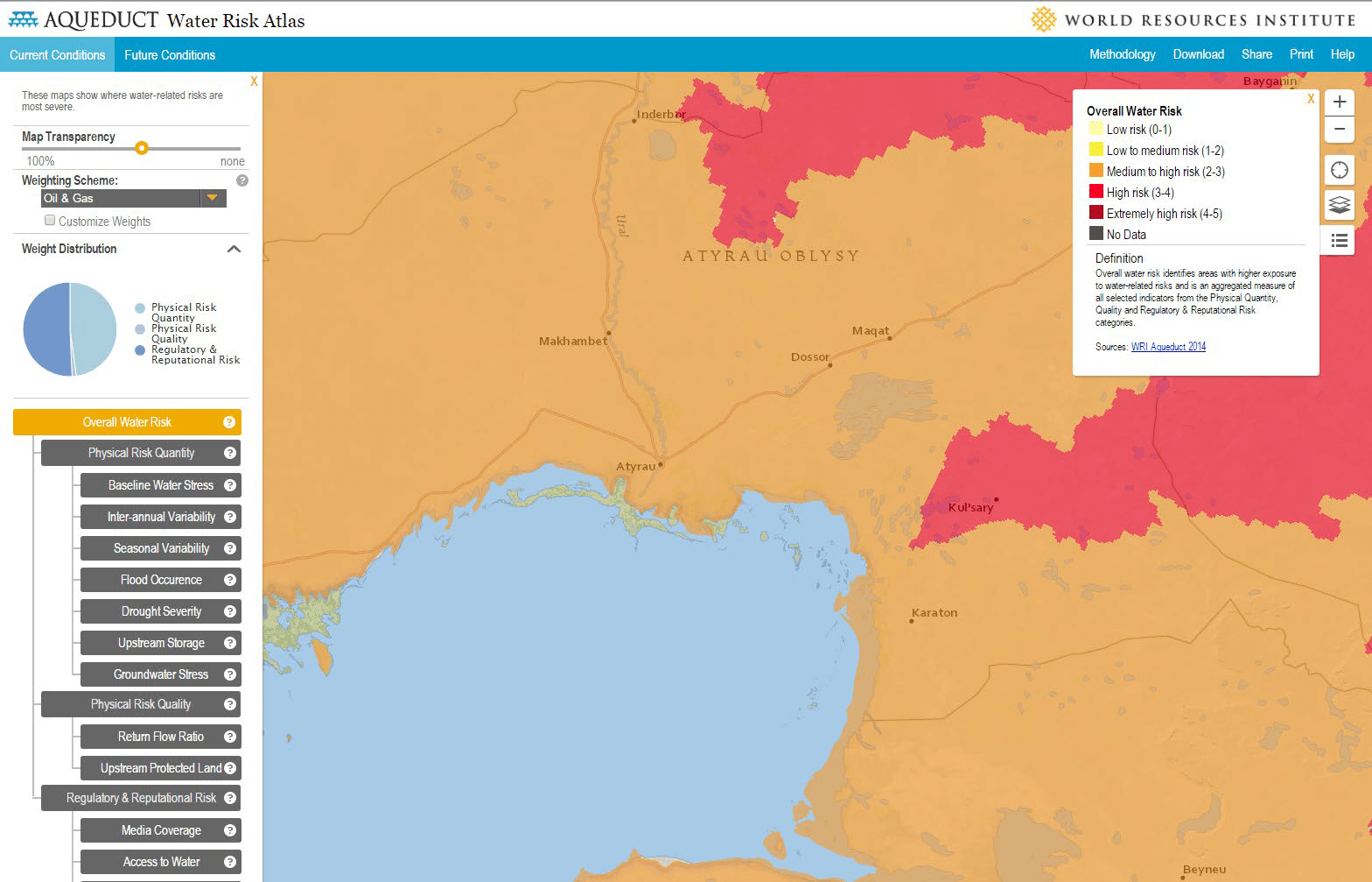 Screenshot of the WRI Aqueduct Water Risk Atlas